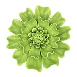 4.7quot; Ceramic Flowers Wall Decor Green 3D Handmade Porcelain Flower Wall Small