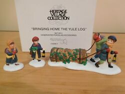 Dept 56 Dickens Village - Bringing Home The Yule Log - Set Of 3 - Free Shipping