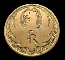 Rd16131 Awesome 1970s Sturm Ruger Firearms Logo Solid Brass Buckle