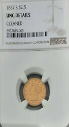 1857 S 2 1/2 Gold Ngc Graded Uncirculated