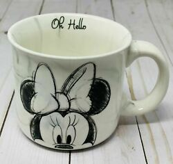 Disney Hand Sketched Minnie Mouse Oh Hello Marble Coffee And Tea Mug New