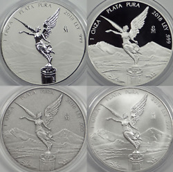 2018 Reverse Proof Proof Antiqued And Ms Mexican Libertad 1oz Bu 4 Coin Lot