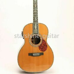 00045 Electric Acoustic Guitar Solid Red Spruce Top Abalone Inlay Fishman Pickup