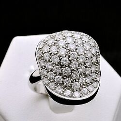 Ring Bubble White Gold 18 Carats 750 Bright 1.82 Ct Natural Doesnand039t Treated