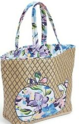 VERA BRADLEY Beach Bag Tote Floral Whale MARIAN FLORAL Polyester Woven Straw NWT $59.95