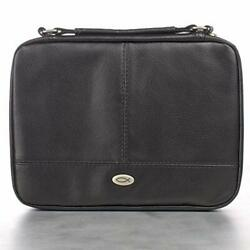 Large Black Protector Two-fold Bible Cover Faux Leather Zipped Slip 8.8x6.6