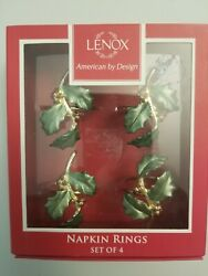 ⭐️set Of Four Lenox Holiday Holly Napkin Rings New In Box
