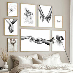 Nordic Black White Canvas Wall Art Painting Poster Print Couples Home Décor New