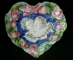 Made In Italy Hand Painted Heart Shape Dish 7360 Angels Cherubs Pink Roses New