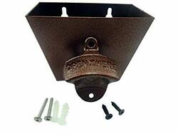 Bottle Opener Cast Iron Wall Mount And Stainless Steel Cap Catcher With Screws -
