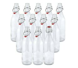 Swing Top Easy Cap Clear Glass Beer Bottles, Round, 16 Oz, Set Of 12