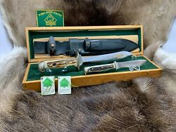 1982 Waidbesteck Knife Set Stag Handles And Sheath Mint In Presentation Box