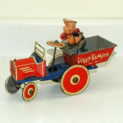 Vintage Marx Tin Litho And Celluloid Popeye Dippy Dumper Wind Up Toy Vehicle
