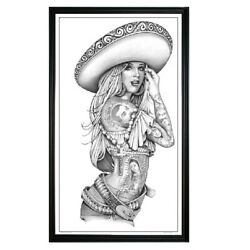 Zapata Charra By Mouse Lopez Latina Mexican Tattoo Wood Framed Fine Art Print