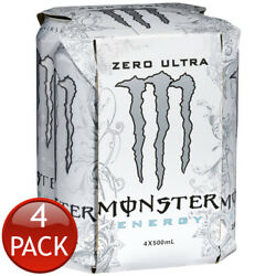 Monster Ultra Zero Sugar Free Sports Energy Fitness Drinks Can 4 Pack 500ml