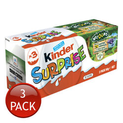 Kinder Surprise Egg 3 Pack 60g Kids Healthy Snack Chocolate Sweets Confectionary