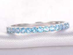 2ct Round Blue Topaz Wedding Band Stackable Half Eternity 14k White Gold Over