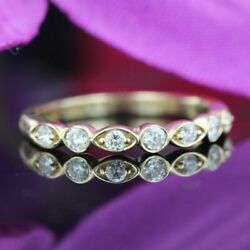 Half Eternity Stackable Wedding Ring Band 2ct Round Diamond 14k Yellow Gold Over