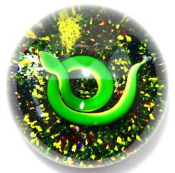 Baccarat Millefiori Paperweight Large 1972 Green Snake Glass Crystal Rare