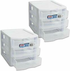 Sterilite Organizer Small 3 Drawer Unit, White Frame With Clear Drawers, 2-pack