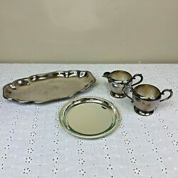 Lot Of 4 Silver Plate Serving Dishes Plate Tray Handled Cream And Sugar Bowls
