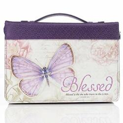 """Large Bible Case Book Cover Purple Butterfly Blessings Zipper Blessed 7""""x10x2"""