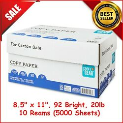 New Pen + Gear 10 Reams Copy Paper 8.5 X 11 92 Bright 20lb 5000 Sheets