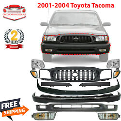 Front Bumper Primed Kit With Grille And Headlights For 2001-2004 Toyota Tacoma