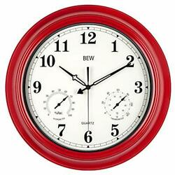 Large Outdoor Clock Waterproof Wall Clock With Thermometer And Red-arabic