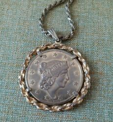 Lady Liberty Coin Necklace United States America - Bicentennial Eagle 1776-1976