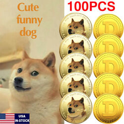 100 Pack Gold Dogecoin Coins Commemorative Collector Gold Color Space Doge Coin