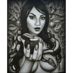 Eveand039s Temptation By Spider Sexy Eve Snake Tattoo Portrait Unstretched Canvas Art