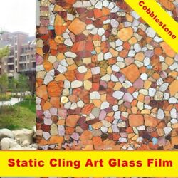 Privacy Window Film Sticker Cobblestone Stained Glass Static Cling Tint Decor