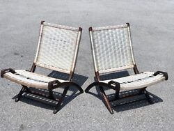 Pair Of Vintage Rope Folding Chair Designed By Ebert Wels