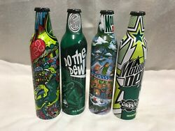 Lot Of 4 Collectible Mountain Dew Aluminum Bottles - Green Label