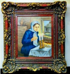 Magnificent Rare Large Judaica Ben-zvi Oil On Canvas Painting Of Candle Lighting