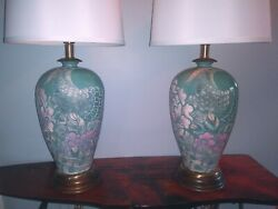 Fab And03980s Frederick Cooper Carved Peacock And Rose Beautiful Lamps
