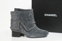 New Sz 7.5 / 38 Grey Suede Cc Logo Chain Ankle Almond Toe Boot Heel Shoes