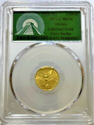 2020mo Mexico 1/10 Oz. Gold Libertad Pcgs Ms-70 - First Strike - Green Label