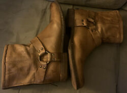 FRYE Phillip Harness Tan Leather Moto Ankle Boots 76870 Size 10 B Womens $58.00