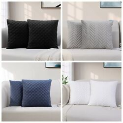 2 Pieces Throw Pillow Covers Quilted Cushion Cases for Sofa Square 18 x 18 New