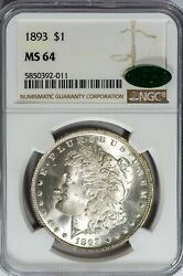 1893 Morgan Ngc Ms64 Cac-verified Silver Dollar Nice Luster Tougher Date