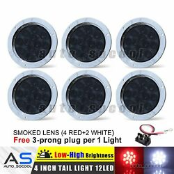 Smoked 4 Red + 2 White 12 Led 4 Round Reverse Stop Tail Light 12v Truck Caravan