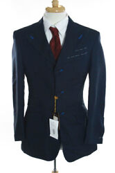 Nwt Mens Billionaire Couture Blue Cotton Triple Breasted Pointed Lapel Blazer 44