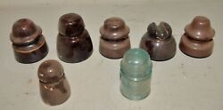 6 Brown Porcelain Insulators Collectible Ceramic Power Pole Lot + One Extra
