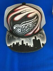 Detroit Red Wings One Of A Kind Hat Custom Air Brushed Snap Back