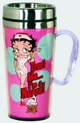 Betty Boop Acrylic And Stainless Steel Travel Mug With Handle Nurse Betty