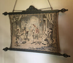 """Antique French Tapestry Wall Hanging 36""""x 23.5"""" +23"""" Hang With Cord"""