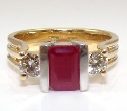 Effy Bh Red Ruby And Diamond 14k Yellow White Gold Ring Size 7 Lje3