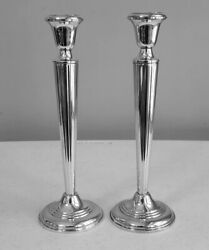 Pair 9 3/4 Tall Classical Reeded Design Candlestick Holders By Empire Sterling